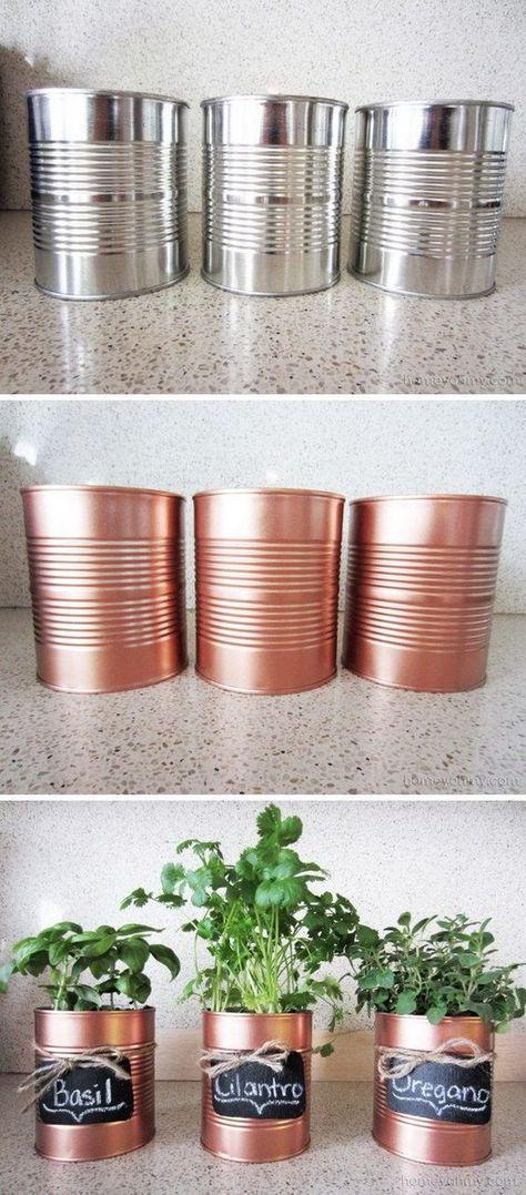 DIY Copper Tin Can Planters And Chalkboard Tags. Cosas lindas que se pueden hacer con reciclado!!! . Sarah