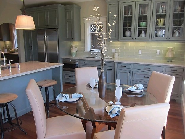 Best Gray Cabinets With Sea Green Backsplash Tiles Perfect 640 x 480