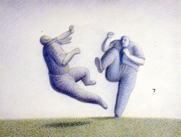 "Garif Basyrov - Karate (1990) From the series ""Inhabited Landscapes"". Colored pencil on paper, 56x76 cm"