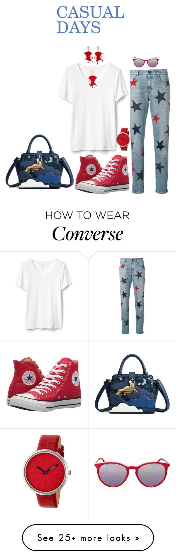 """CASUAL DAYS"" by rebeccadavisblogger on Polyvore featuring STELLA McCARTNEY, Converse, Les Néréides, Simplify and Ray-Ban"