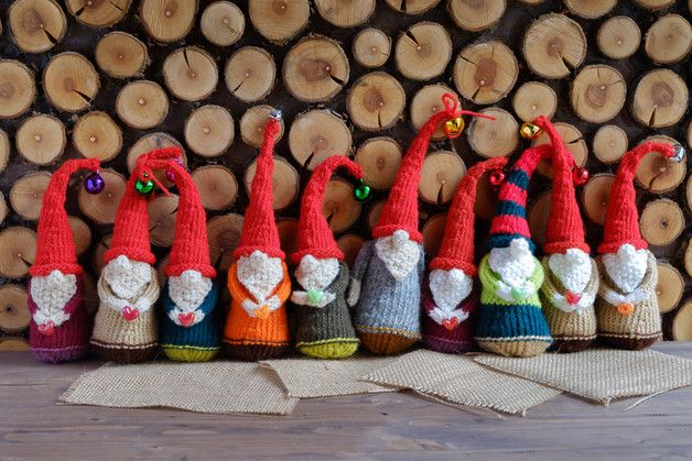 Christmas dwarf or gnome knitted toy, great as Holiday decoration, Christmas stuffing or just as small toy for your children, miniature gnome.  These small pieces of happiness are 100%...