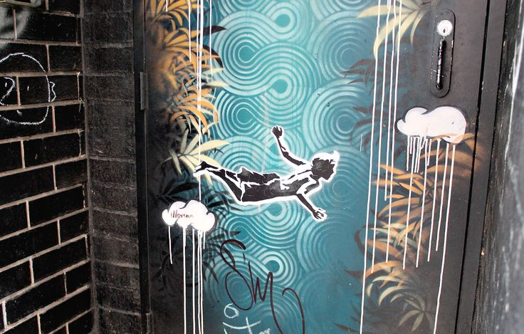 What a cool way to decorate a laneway door. Part of the street art program in Lismore (Australia) called The Back Alley Gallery.