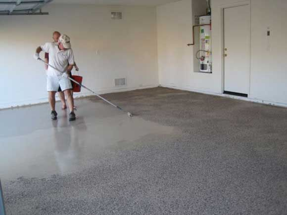 epoxy floor rolling paint How to Apply an Epoxy Garage Floor Coating