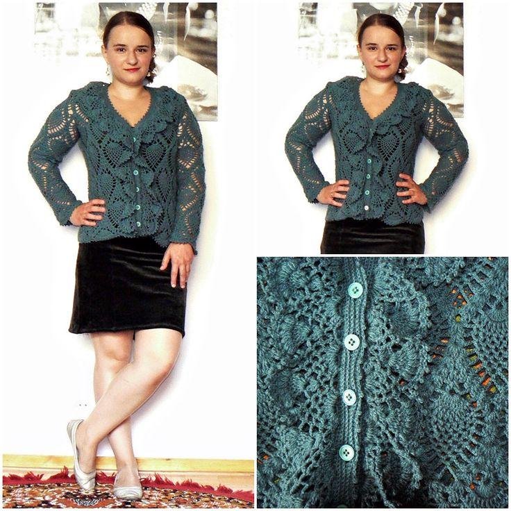 Feminine sweater crochet pineapple pattern.