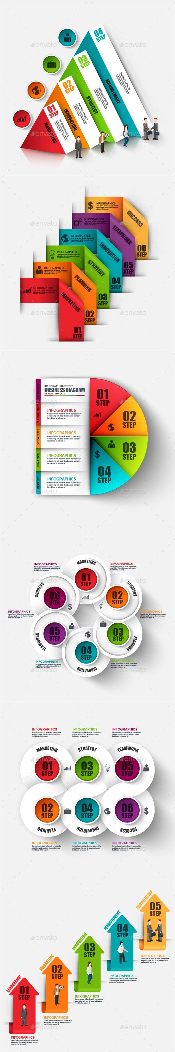 Set of Abstract 3D Digital Business Infographic — Vector EPS #3d #teamwork • Available here → https://graphicriver.net/item/set-of-abstract-3d-digital-business-infographic/17833390?ref=pxcr