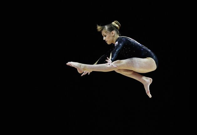 Rebecca Tunney of Great Britain in action on the balance beam