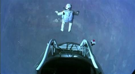 Skydiver Felix Baumgartner makes the highest skydive ever Oct. 14, 2012. He jumped from 128,000 feet (39,000 meters), or about 24 miles up, during the Red Bull Stratos mission.