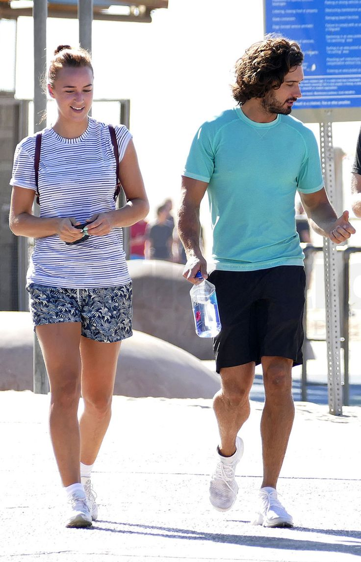 Joe Wicks stepped out for the first time with his new page 3 girlfriend Rosie Jones after finishing a workout on Santa Monica beach.  • Celebrity WOTNOT  --------------- For further information on these stories and images please visit www.celebritywotnot.com. These Images are ©Atlantic Images. No use without permission.