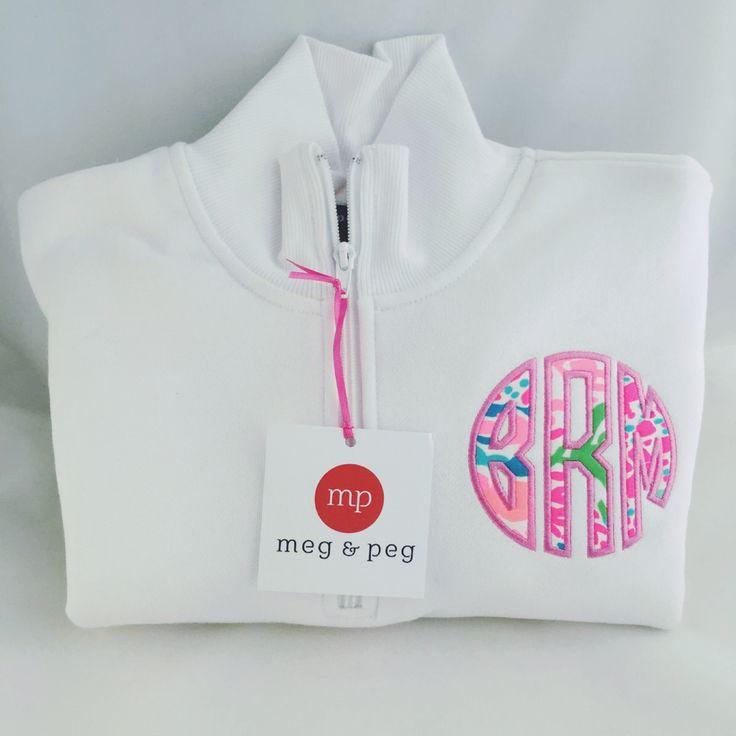Monogrammed Jacket, white, Meg and Peg, Jellies be jamming, size small, Pink Horizon thread