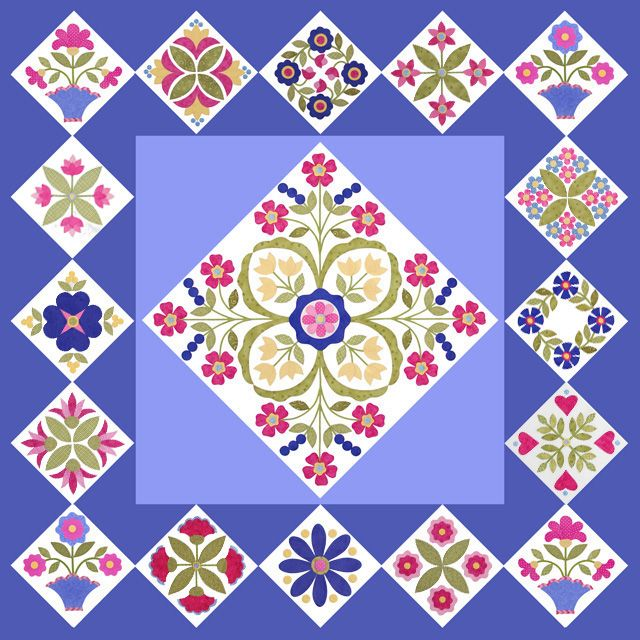 2012 Mimis Bloomers BOM quilt  (center block pattern must be purchased)