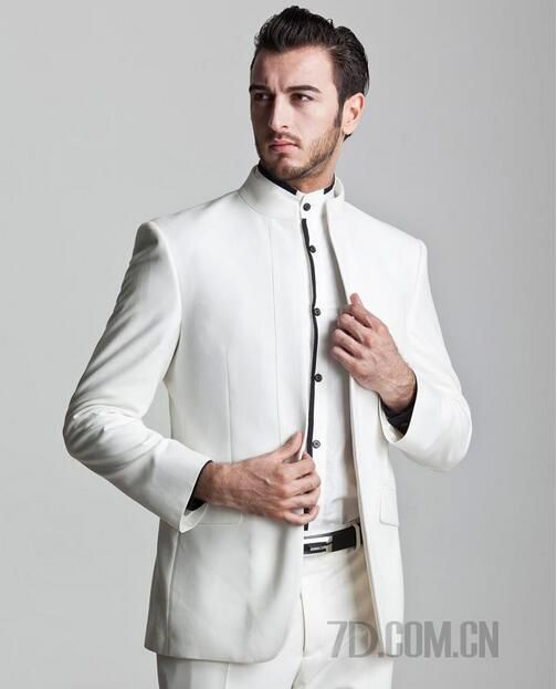 b331a0887d61c White stand collar groom wedding suits for men blazer boys prom suits mens  chinese tunic suit latest coat pant designs no buckle.