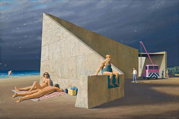Sunbathers at Construction Site. 2003 ~  Jeffrey Smart (Australian 1921 – 2013)
