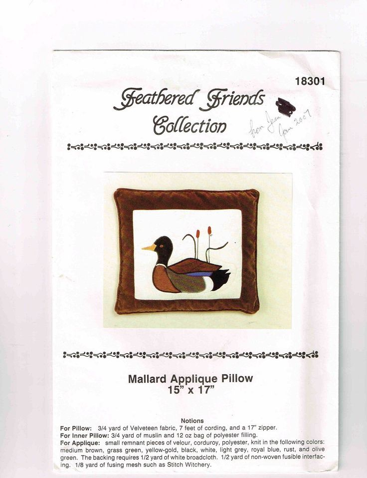 """Vintage Mallard Appliqué Pillow, Inner Pillow Pattern & Instructions, Feathered Friends Collection, Pillow 15"""" X 17"""" (38cm X 43cm) by TheShoppingMoll on Etsy"""