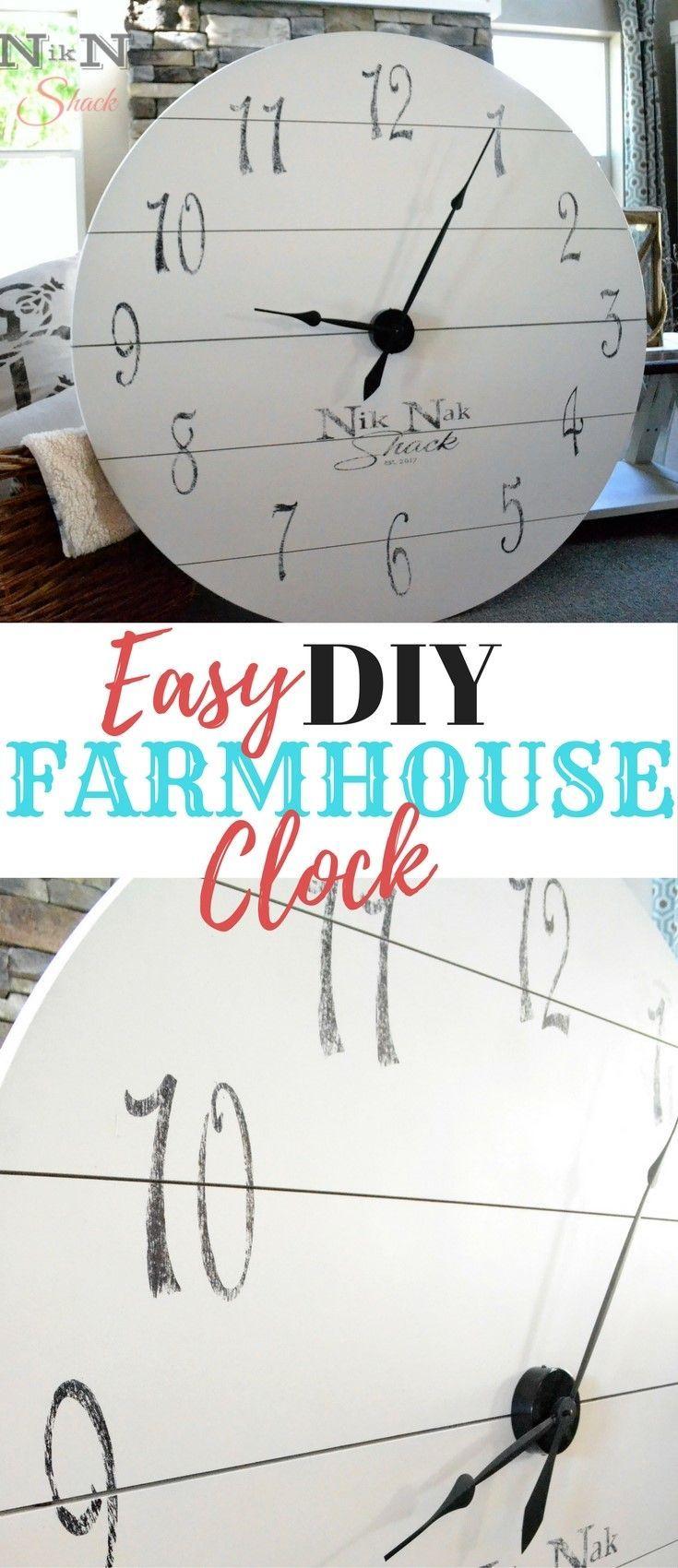 DIY Home Decor! Easy Large Farmhouse Clock! Love Farmhouse Decor!