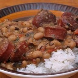 Black-Eyed Pea Stew with Smoked Sausage. This uniquely Southern recipe  is absolutely delicious! I made it last night and tossed in a big bunch of kale too. Will definitely make again!