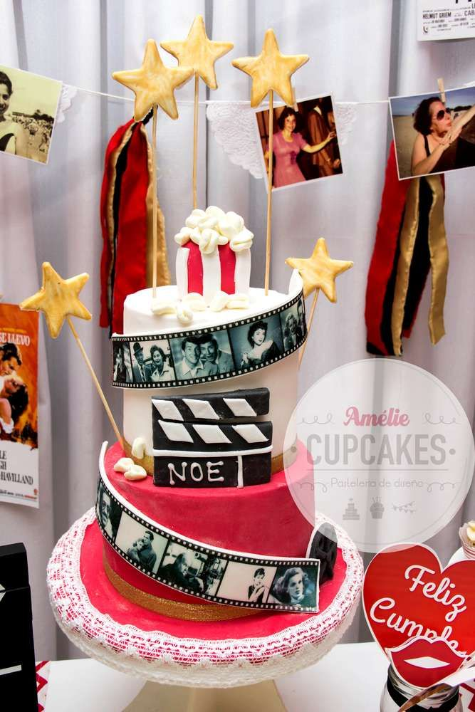 Amazing cake from a Hollywood movie birthday party! See more party ideas at CatchMyParty.com!