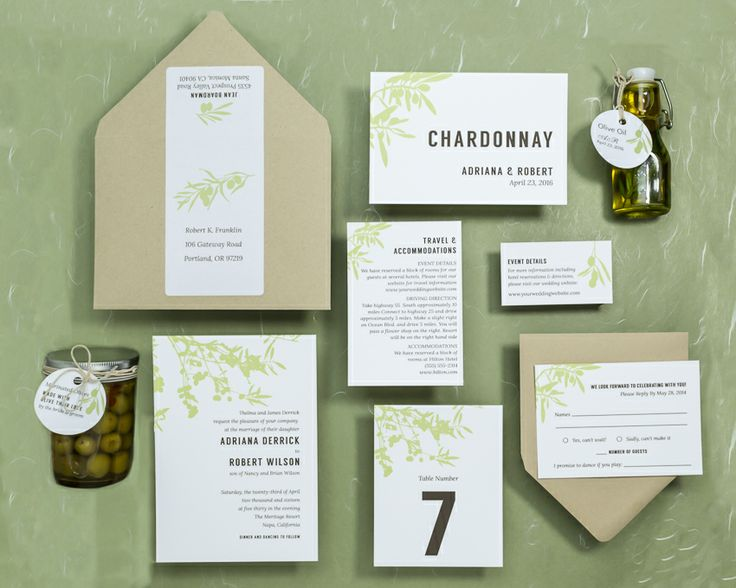 Olive Orchard Wedding Invitations With Matching Table Signs And Favor Tags  From Wine Country Occasions