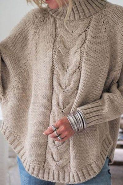 d2e1ae232a Round Neck Asymmetric Hem Plain Sweaters