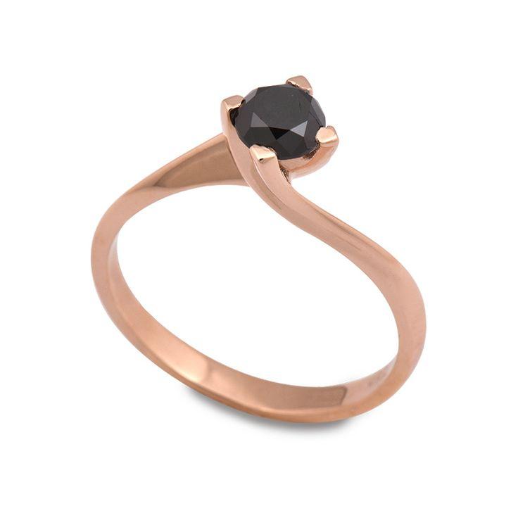 Μονόπετρο δαχτυλίδι σε στυλ φλόγας με μαύρο διαμάντι από ροζ χρυσό Κ18 - Monopetro black diamond | Δαχτυλίδια με μαύρα διαμάντια ΤΣΑΛΔΑΡΗΣ στο Χαλάνδρι