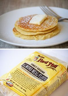 """skinny pancakes    """"if you are a carb counter here is a little break down of how """"skinny"""" these really are...pancake mix or regular flour has about 24 grams of carbs for every 1/4 cup, almond flour has only 3 grams of carbs for every 1/4 cup."""""""
