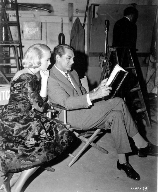 Eva Marie Saint and Cary Grant on the set of North By Northwest