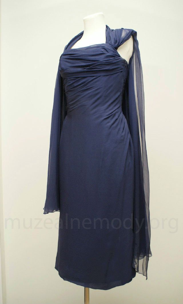 MAGGY ROUFF couture dress, early 1960s. silk crepe