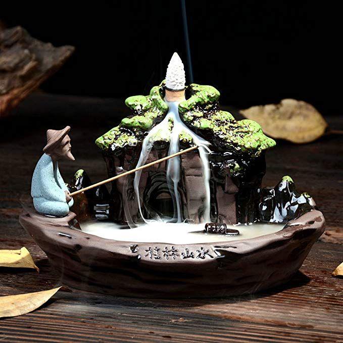 Ceramic Backflow Waterfall Smoke Incense Burner Censer Holder Home Decor No Cone