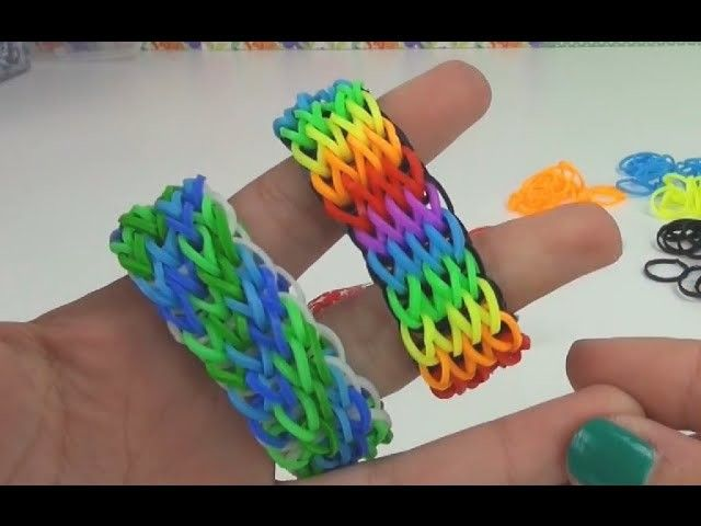 Loom Bandz Vierfach Single Armband Anleitung Tutorial How to make quadra-single…