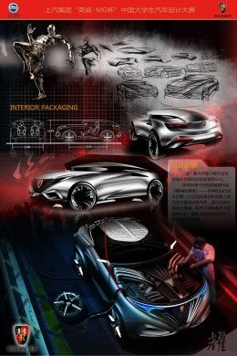 Excellent winner Liu Weijie South China University of Technology Roewe Glory SUV Concept Design Board