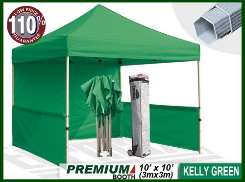 """Eurmax Premium Ez up Canopy Booth Bonus Awning and 4weight Bag(10x10 Feet, Kelly Green) by Eurmax. $389.95. Canopy top:600 Denier Polyester,Water Resistant,100% UV Protection,Fire Resistant: CPAI-84/ULC S109 & NFPA 701 Flame Retardancy Standards. Wall Side Kit :300 Denier Polyester,Water Resistant,100% UV Protection.wall package includes:One(1)Solid walls + Two(2)1/2walls +Four(4)Weight bag. Wheeled bag with 4.7"""" wheels,The Best design and easy to handle even on rough ground. Fr..."""