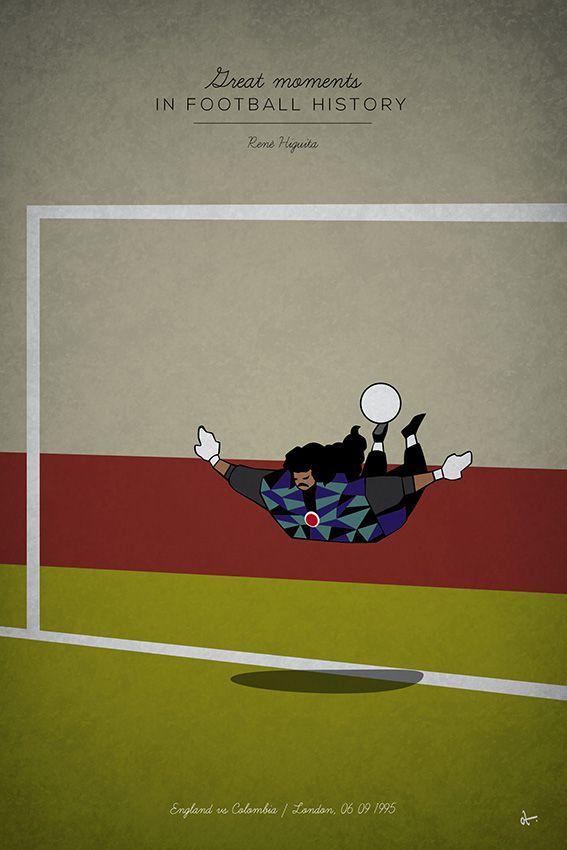great moments in football history series illustration Rene Higuita scorpion kick colombia england goalkeeper