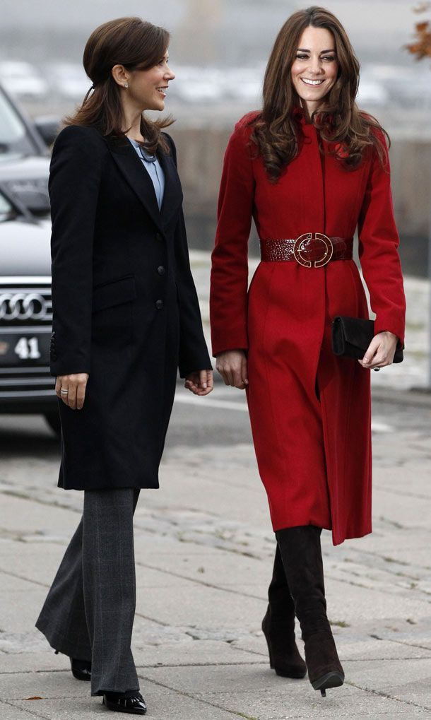 Catherine, Duchess of Cambridge arrives with Denmark's Crown Princess Mary during a visit to the UNICEF emergency supply centre in Copenhagen (Pic: Reuters)