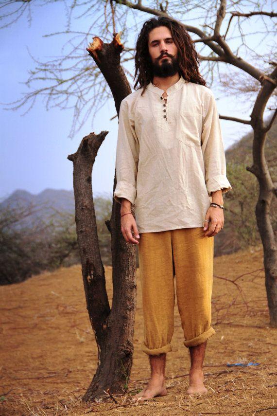 Fine Cotton Men shirt by PrimitiveTribalCraft on Etsy