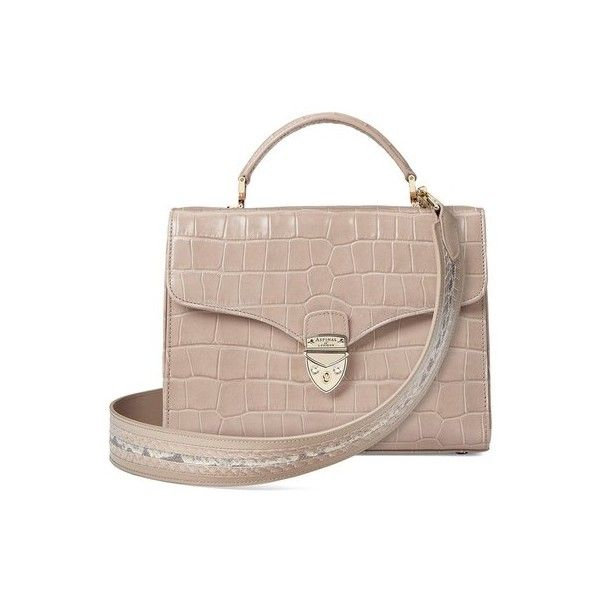 Aspinal of London Mayfair Bag In Deep Shine Soft Taupe Croc With... ($1,220) ❤ liked on Polyvore featuring bags, handbags, stripe, striped purse, locking purse, brown crocodile handbag, flat purse and crocodile handbags