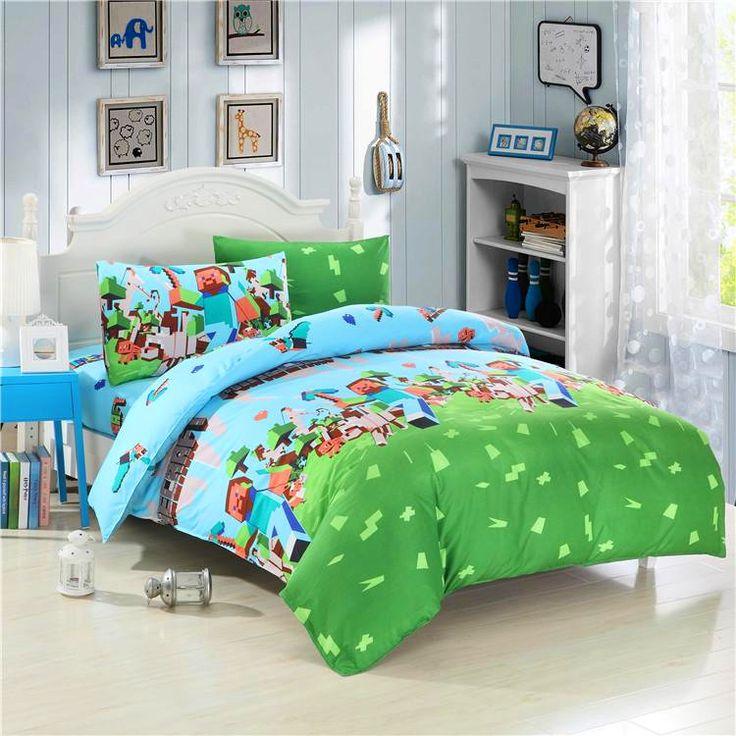 Best 25 minecraft comforter ideas on pinterest bed minecraft minecraft bedding and minecraft - Green pixel bedding ...