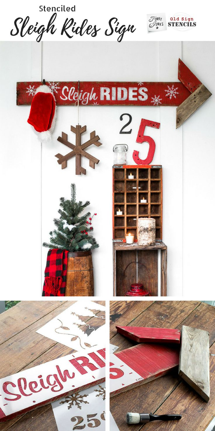 Create this snowflake filled festive Sleigh Rides arrow sign in minutes with Funky Junk's Old Sign Stencils! Click through for the tutorial \ funkyjunkinteriors.net