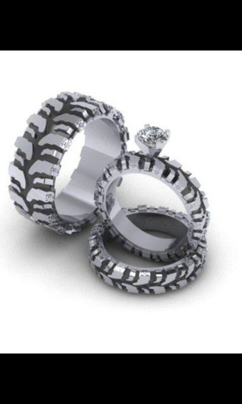 Mud Tire Tread Wedding Ring Set
