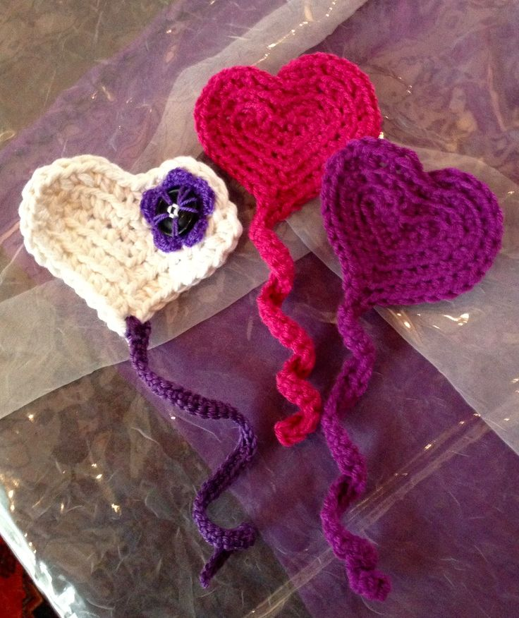 Crochet Heart Bookmarks as Party Favors