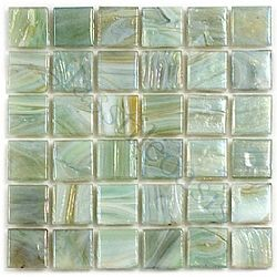 """Viewing Waterlily 5/8"""" x 5/8"""" Green 5/8"""" x 5/8"""" Glossy & Iridescent Glass Tile"""