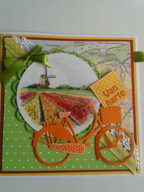 Van harte kaart in frisse kleuren en oranje fiets...  (Pin#1: Bicycles.  Pin+: Scenes).