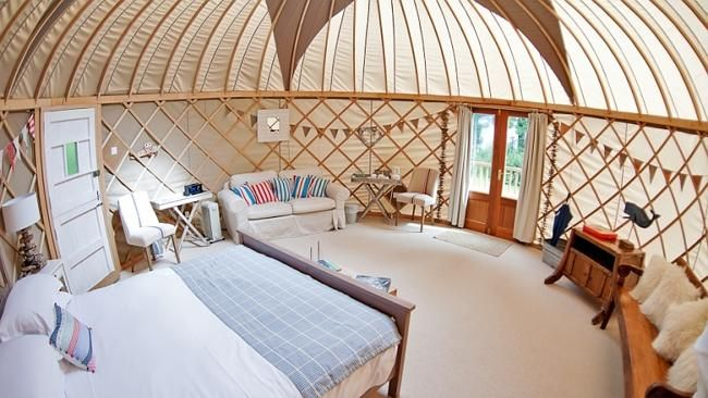 Each of the yurts at Priory Bay Hotel have been decorated by a different designer.