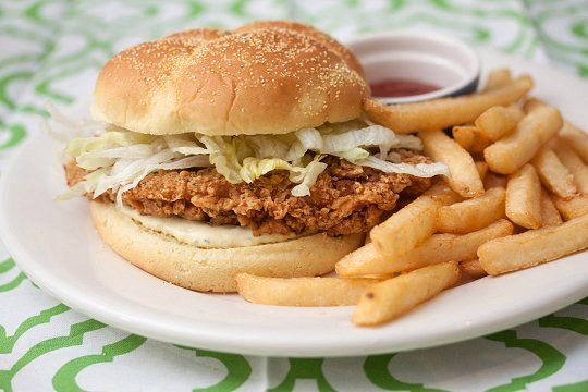 Crispy Chicken Sandwich. Yeah buddy! Add some bacon and bleu cheese and buffalo sauce and this is my favorite kind of sandwich!