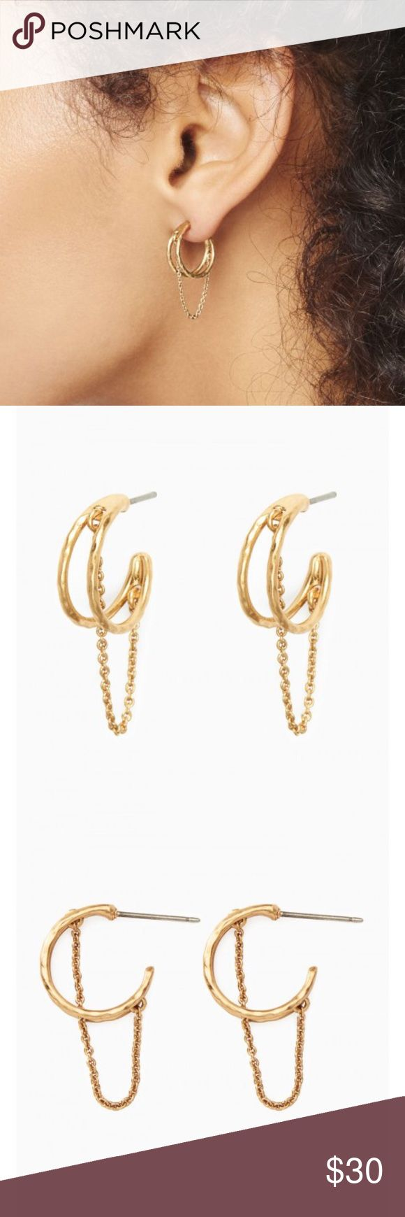 Nib Stella & Dot Illusive Hoop Earrings Delicate Chain Drapes Between Two  Semi Shiny Gold Hoops