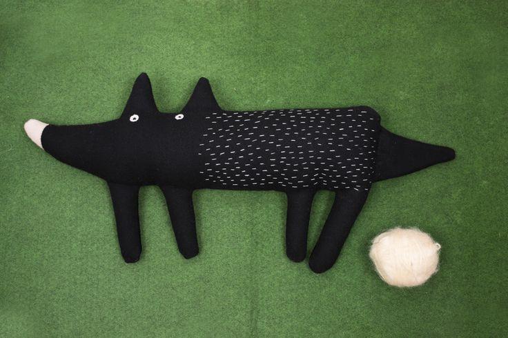 Dog soft toy, plush toy, design for kids, pooka, pookatoys, pookapoland, wolf toy, handmade toy, black dog