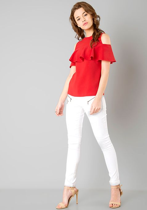 e7f14e7be8caa Ruffled Cold Shoulder Top - Red Online