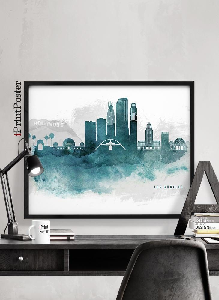 Los Angeles print, LA skyline poster, Hollywood, California, Watercolour poster, wall art, Travel, City prints, Home Decor, iPrintPoster by iPrintPoster on Etsy