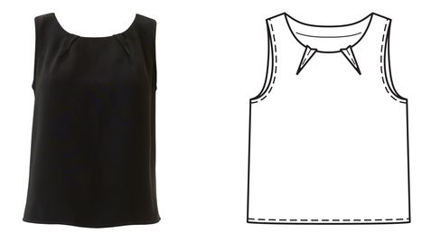 Simple sleeveless top with interesting neckline dart detail 04/2016 / Burdastyle
