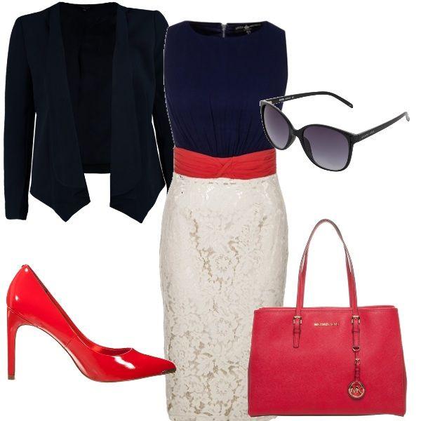 Abito da giorno con corpetto blu e gonna bianca di pizzo con fascia rossa in vita. Giacca blu. Scarpe e borsa rosse. E per finire occhiali da sole. Un perfetto outfit  da lavoro.
