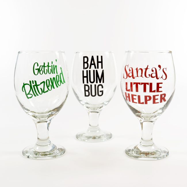 Decorate wine glasses with fun holiday sayings! Create your own text layout with custom vinyl lettering decals.