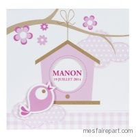Faire-part de naissance fantaisie rose fille BUROMAC Pirouette 503.008 mes faire part.com
